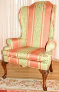 081374 QUEEN ANNE STYLE TALL WINGBACK CHAIR H 52