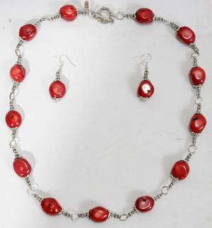 080349 RED CORAL BEADED NECKLACE  EARRINGS
