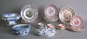 Twentytwo pcs of decorated Staffordshire transfer china