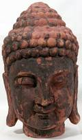 072353 ANTIQUE CARVED AND POLYCHROME HEAD OF BUDDHA