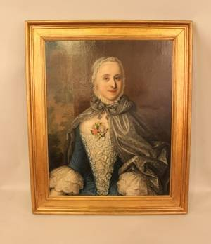 18th C European Oil on Canvas  Portrait of a Woman