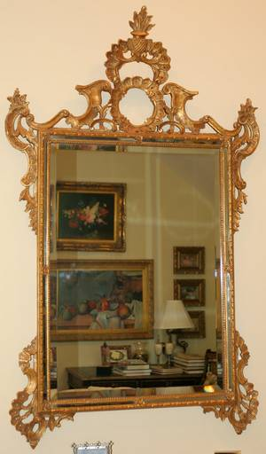 062318 CARVED GILT WOOD  BEVELED GLASS MIRROR