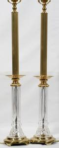 061452 WATERFORD CRYSTAL  GILT METAL COLUMNAR LAMPS