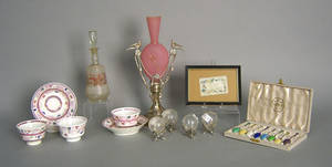 Misc table articles to include satin glass vase