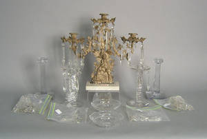 Two pair of glass candlesticks