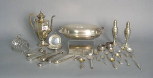 Group of silver table articles to include a pair of sugar tongs by S Richards