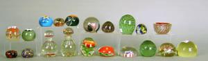 Twenty glass paperweights