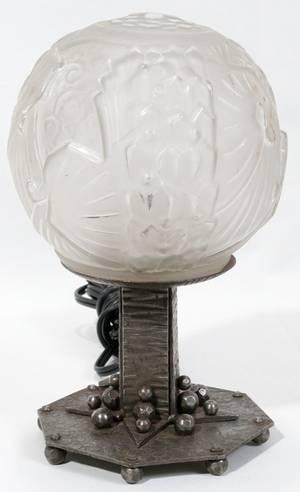 092492 MULLER FRRES LUNEVILLE ART DECO GLASS GLOBE