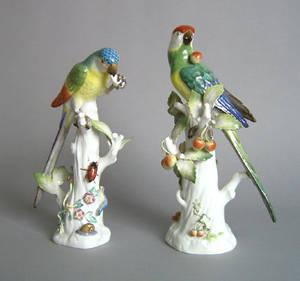 Pair of Meissen porcelain parrots