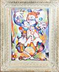 081431 JLM OIL ON CANVAS COLORFUL CLOWN JUGGLING