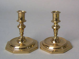 Pair of small Spanish brass candlesticks late 17th c