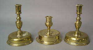 Pair of Spanish brass candlesticks early 18th c