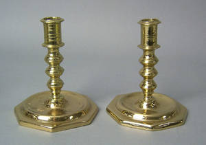 Pair of Spanish brass candlesticks 17th c