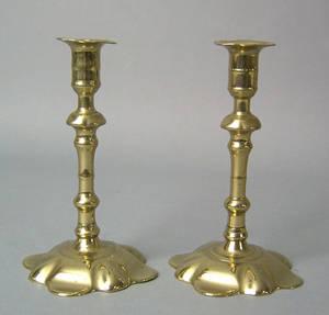 Pair of Queen Anne brass candelsticks mid 18th c
