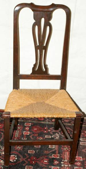 071390 AMERICAN MAHOGANY SIDE CHAIR WITH RUSH SEAT
