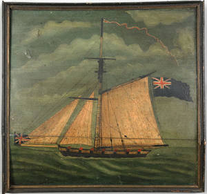Oil on board of a British frigate 19th c