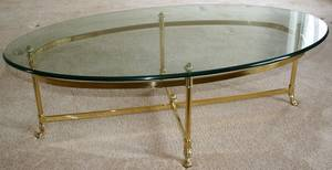 061487 GLASS AND BRASS OVAL COFFEE TABLE H 16