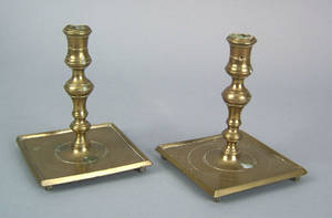 Pair of Spanish brass candlesticks ca 1720