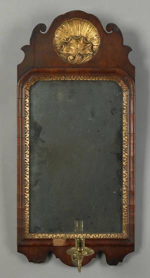 Queen Anne walnut veneer looking glass ca 1760