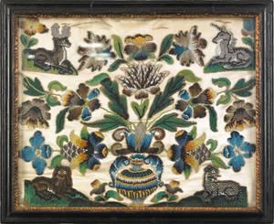 Queen Anne pictorial beadwork ca 1720