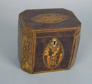George III burl veneer tea caddy late 18th c