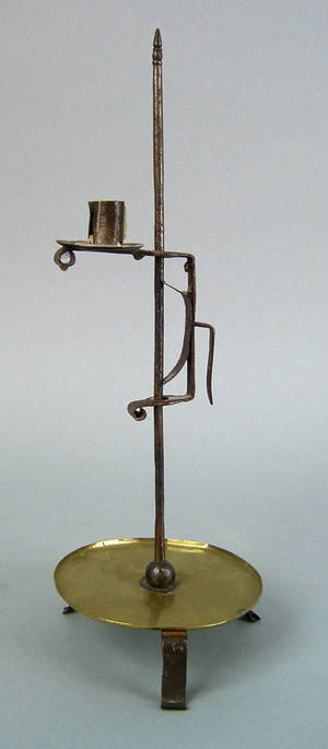 English wrought iron adjustable candlestand 18th c