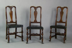 Three Boston Queen Anne maple dining chairs ca 1750