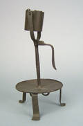 Wrought iron kettle lamp early 19th c