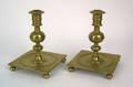 Substantial pair of Danish brass candlesticks ca 1660