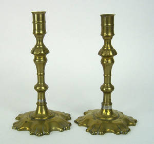 Pair of English brass candlesticks ca 1765