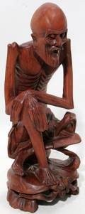 082404 ORIENTAL TEAKWOOD ELDERLY GENTLEMAN ANTIQUE