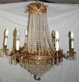 100490 FRENCH STYLE BRASS  CRYSTAL CHANDELIER