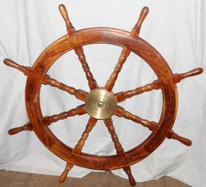 062459 PINE AND BRASS SHIPS WHEEL DIA 40