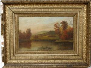 102492 AMERICAN SCHOOL OIL ON WOOD PANEL LANDSCAPE