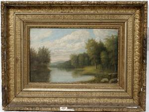 102491 AMERICAN SCHOOL OIL ON WOOD PANEL LANDSCAPE