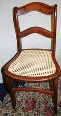 100552 AMERICAN ANTIQUE MAHOGANY  CANE SIDE CHAIR