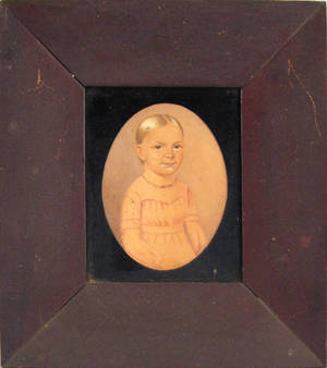 Pennsylvania miniature watercolor portrait of a young girl  ca 1840