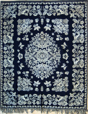 New Jersey blue and white jacquard coverlet ca 1840