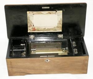 101016 SWISS WALNUT CYLINDER MUSIC BOX C1892