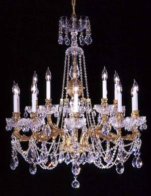 100001 TWO TIER BRASS  CRYSTAL CHANDELIER H 40