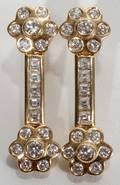 090019 24CT DANGLING CLUSTER DIAMOND EARRINGS