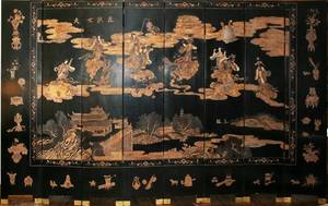 082040 JAPANESE LACQUER EIGHTPANEL SCREEN H 8
