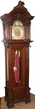 082024 CARVED MAHOGANY GRANDFATHER CLOCK C 1899