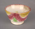 Red yellow and green rainbow spatter miniature drape cup 19th c