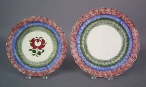 Two red blue and green rainbow spatter plates 19th c