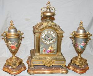 071053 SEVRES PORCELAIN  BRONZE CLOCK GARNITURE