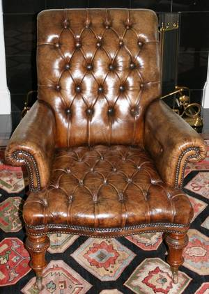 061045 ENGLISH VICTORIAN WALNUT  LEATHER ARMCHAIR