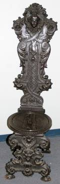 061049 OLD ENGLISH STYLE CARVED OAK PUB CHAIR H 57