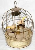 031119 BRASS BIRD CAGE MUSIC BOX WFEATHERED BIRDS