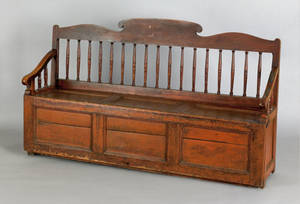 Pine settle bench late 18th c